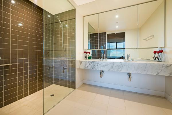 Beautiful marble bathroom with walk in shower